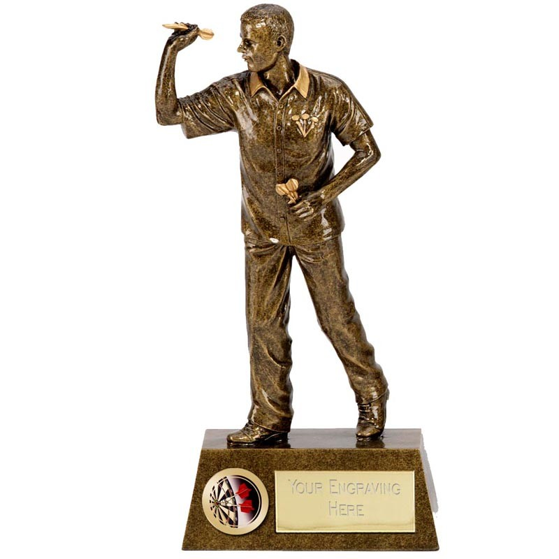"DARTS Player Statue Trophy 7.25"" or 8.75"" FREE ENGRAVING 2 Sizes Personalised Award"