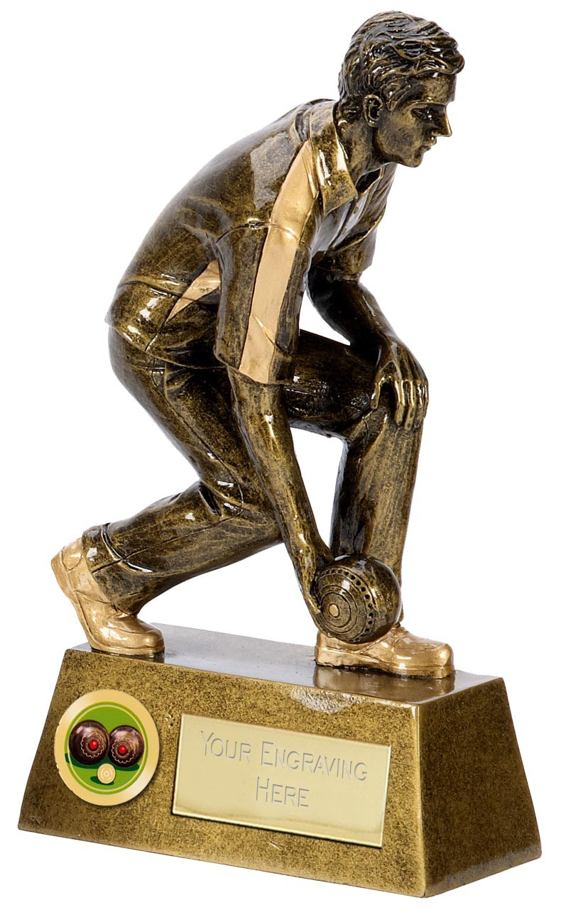 "Male LAWN BOWLS Trophy 5.5"", 6.5"" or 8"" FREE ENGRAVING 3 Sizes Mens Bowler Award"