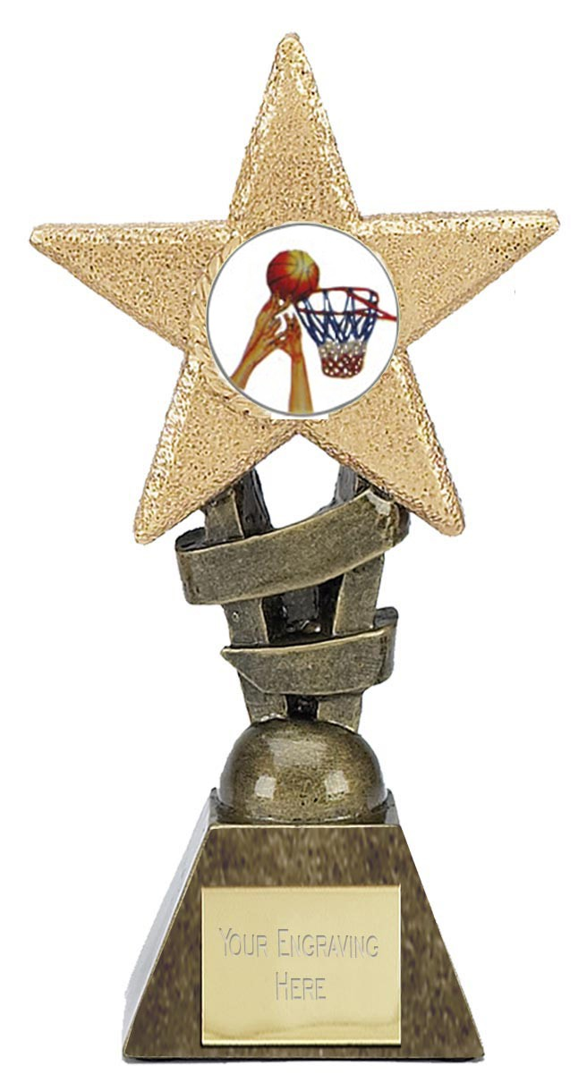 """BASKETBALL Star Trophy 2 sizes 5.5"""" or 6.75"""" FREE ENGRAVING"""