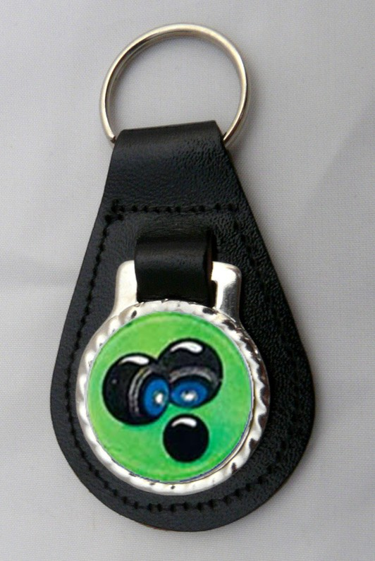 Crown Green Bowls Leather Key Fob - Black Leather