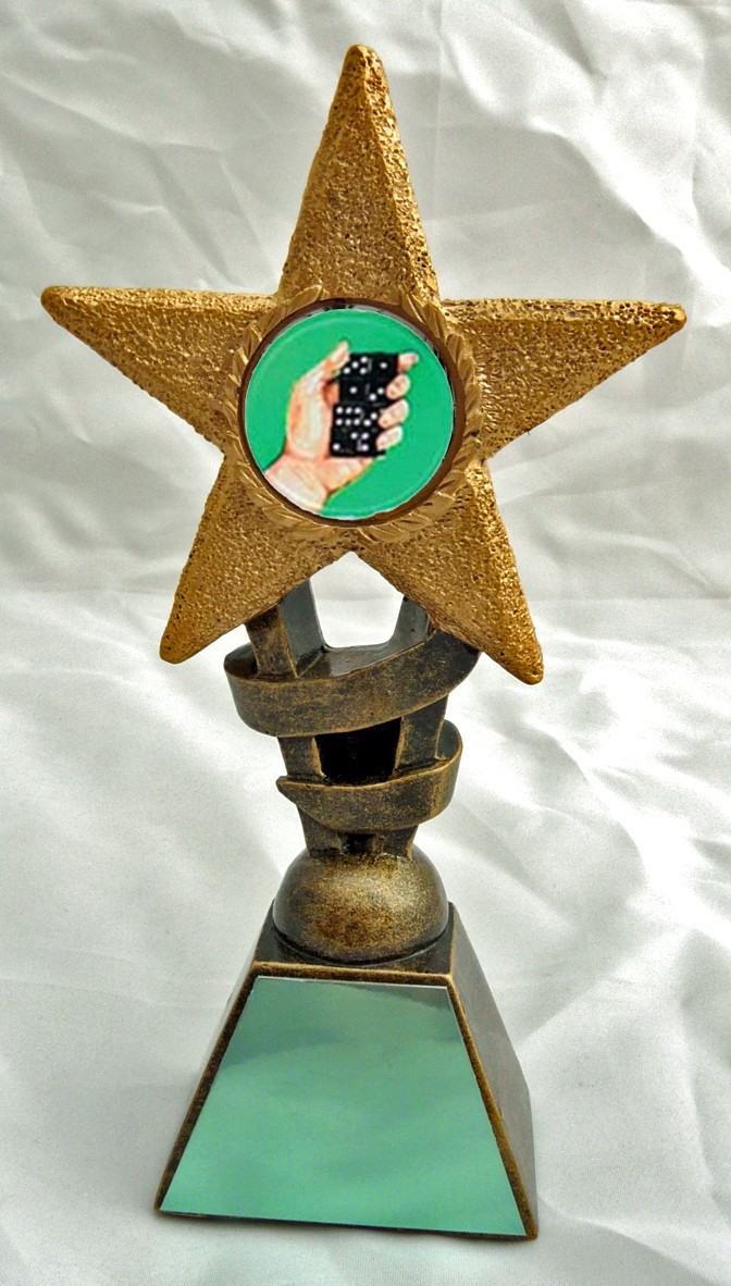 "DOMINOES Star Trophy FREE ENGRAVING 2 Sizes 5.5"" or 6.75"""
