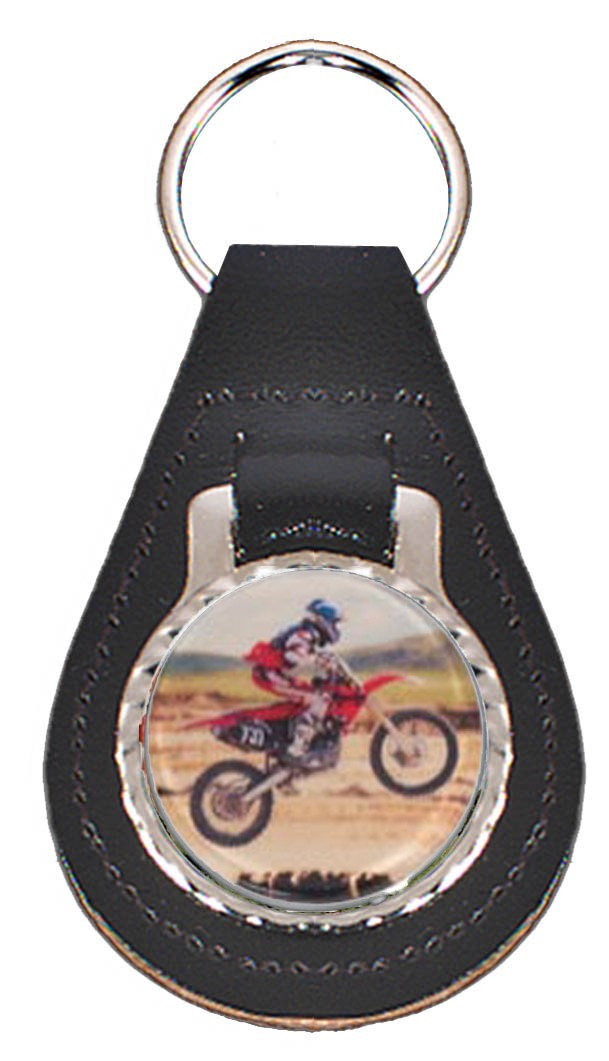 Motocross Leather Key Fob - Black Leather