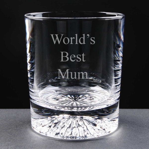 Personalised Lead Crystal 'World's Best Mum' 8oz Whisky / Juice Glass Engraved