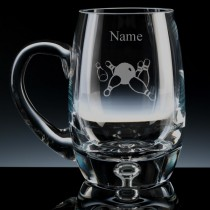 Personalised Ten Pin Bowling Engraved Bubble Base Beer Tankard (Pint or Half Pint)