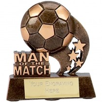 "Man of the Match Football Trophy 3.25"" FREE ENGRAVING Soccer Stars Award"