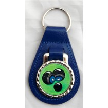 Crown Green Bowls Leather Key Fob - Blue Leather