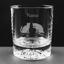 Personalised Lead Crystal Cats 8oz Whisky / Juice Glass Engraved