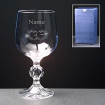 Personalised Floral Hearts & Arrow Wine Glass Engraved