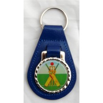 Cricket Wicket Leather Key Fob - Blue Leather