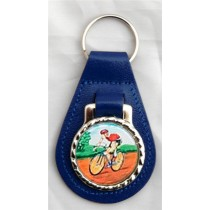 Cycling Cyclist Leather Key Fob - Blue Leather