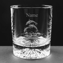 Personalised Lead Crystal Dolphin 8oz Whisky / Juice Glass Engraved