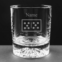 Personalised Engraved Dominoes Lead Crystal Whisky / Juice Glass