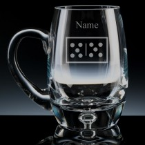 Personalised Dominoes Engraved Bubble Base Beer Tankard (Pint or Half Pint)