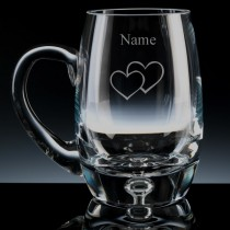 Personalised Double Heart Engraved Bubble Base Beer Tankard (Pint or Half Pint)
