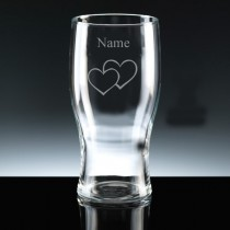 Personalised Double Heart Engraved 1 Pint Beer Glass