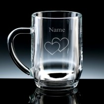 Personalised Double Heart Engraved Beer Tankard (Pint or Half Pint)