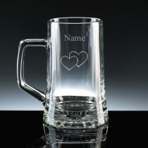 Personalised Engraved Double Heart 18oz Half Litre Stern Glass Tankard