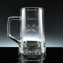 Personalised Drama Masks Stern Beer Tankard Engraved (1/2 litre)