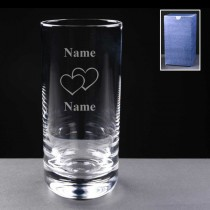 Personalised Engraved Double Hearts 11oz Hi-Ball Glass