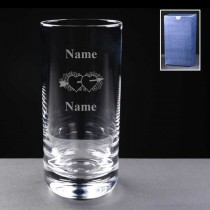 Personalised Engraved Hearts & Arrow 11oz Hi-Ball Glass