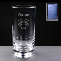 Personalised Engraved Heart & Flowers 11oz Hi-Ball Glass