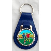 FOOTBALLER Soccer Player Leather Key Fob - Blue