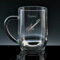 Personalised Guitar Engraved Beer Tankard (Pint or Half Pint)
