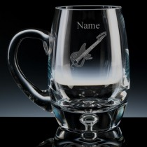 Personalised Guitar Engraved Bubble Base Beer Tankard (Pint or Half Pint)