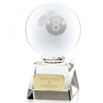 "POOL Victory Glass Trophy 3.75"" or 4"" FREE ENGRAVING Personalised Award 2 Sizes"