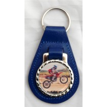 Motocross Leather Key Fob - Blue Leather