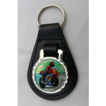 Motorcycle Motorbike Leather Key Fob - Black Leather
