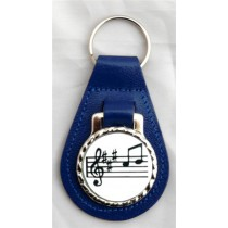 Music Notes Leather Key Fob - Blue Leather