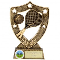 "TENNIS Shield Trophy FREE ENGRAVING 5"" or 6"" Personalised Award"