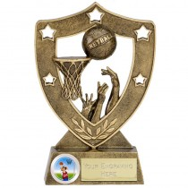 "NETBALL Shield Trophy FREE ENGRAVING 2 Sizes 5""or  6"" Personalised Award"