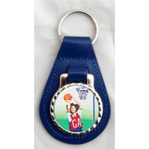 Netball Leather Key Fob -  Blue Leather