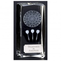 "Crystal DARTS Trophy 4.5"" FREE ENGRAVING Glass Personalised Award"