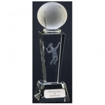 "Glass Unite Optical Crystal Male Tennis Trophy 8.5"" - Male Tennis Player"