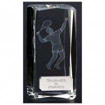 "Glass Clarity Optical Crystal Male Tennis Trophy 4.5"" - Male Tennis Player"