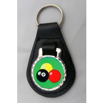 Pool Leather Key Fob - Black Leather