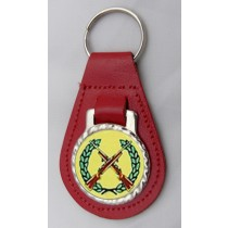 Shooting Rifles Leather Key Fob - Red Leather