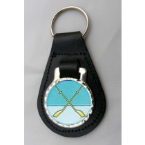Rowing Sculling Leather Key Fob - Black Leather