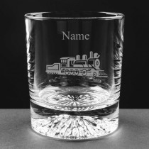 Personalised Engraved Steam Train Lead Crystal Whisky / Juice Glass