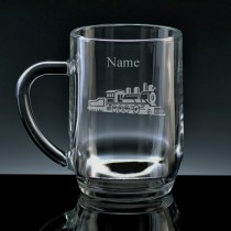 Personalised Steam Train Engraved Beer Tankard (Pint or Half Pint)