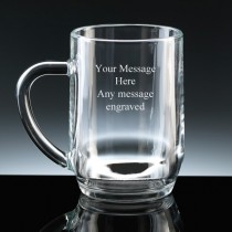 Personalised 1 Pint Beer Glass Tankard FREE ENGRAVING Any Message Engraved Gift
