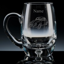 Personalised VW Beetle Engraved Bubble Base Beer Tankard (Pint or Half Pint)