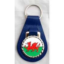 Welsh Dragon Leather Key Fob - Blue Leather
