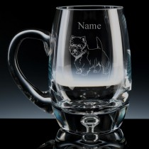 Personalised Westie (West Highland Terrier) Engraved Bubble Base Beer Tankard (Pint or Half Pint)